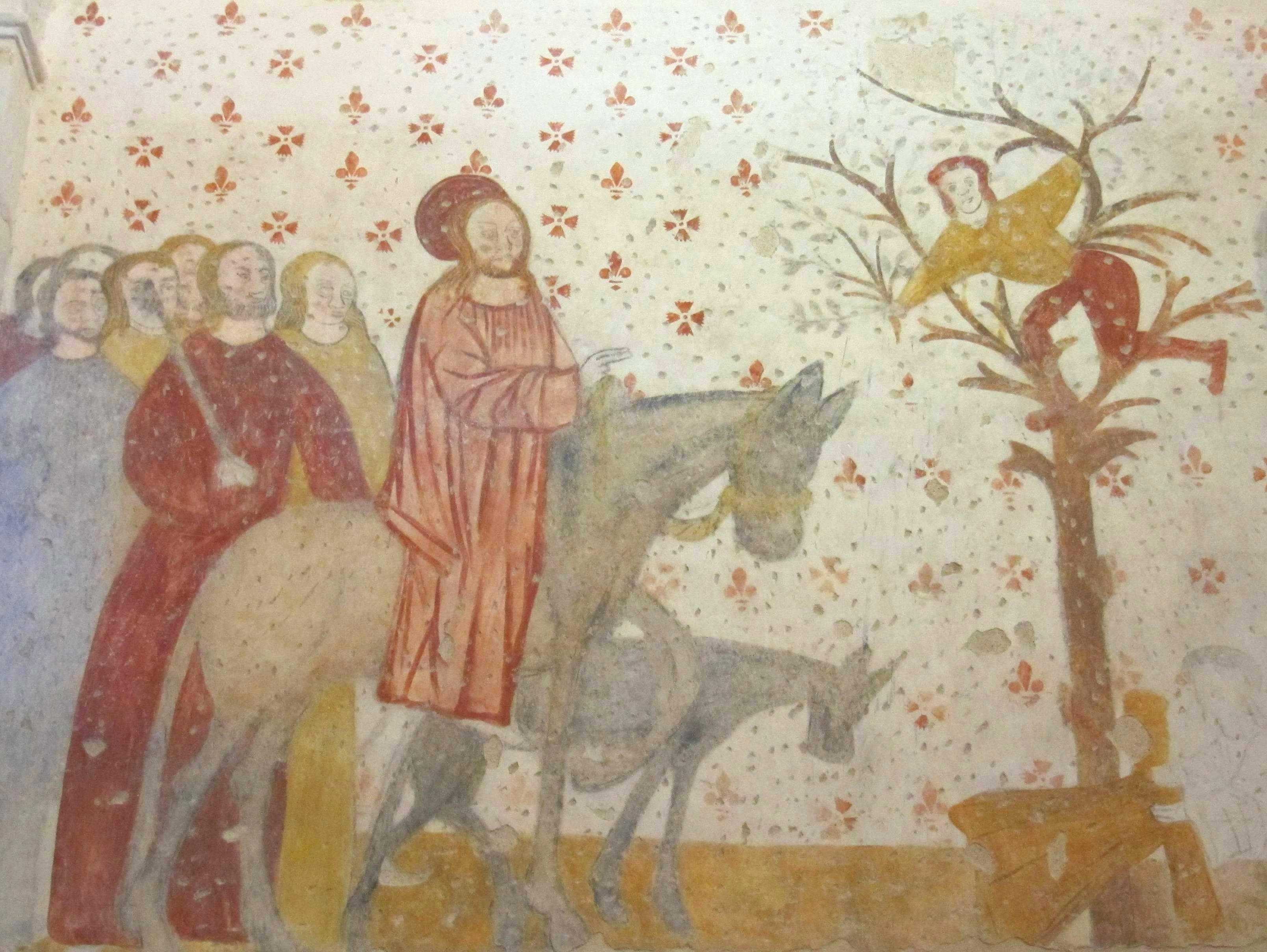 Early 16th c fresco in the Church of St Méard, newly restored. Wikimedia